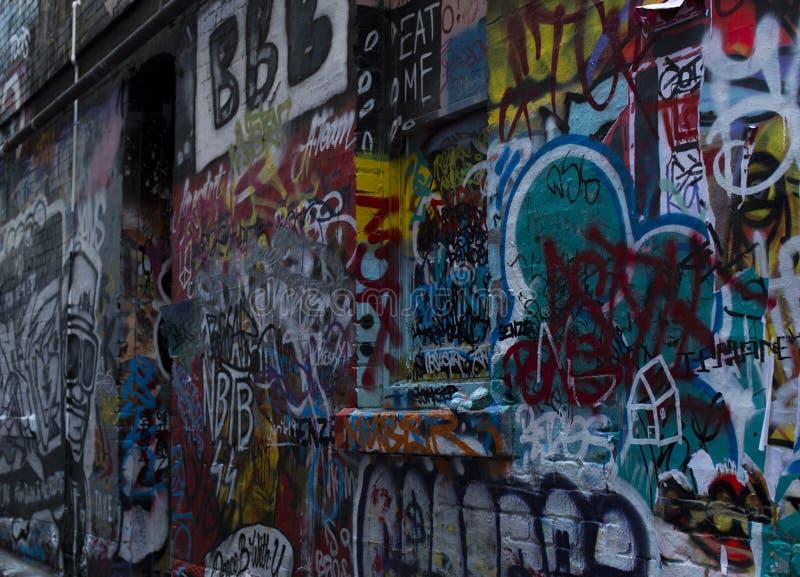 Rua Art Bombed Brick Wall em Melbourne foto de stock royalty free