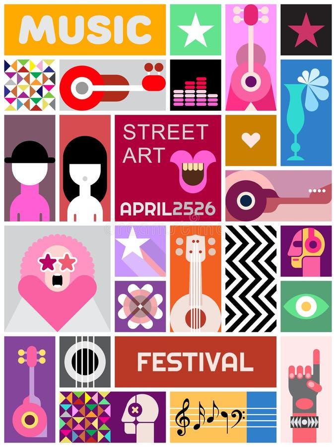 Rua Art Poster Template Design ilustração do vetor