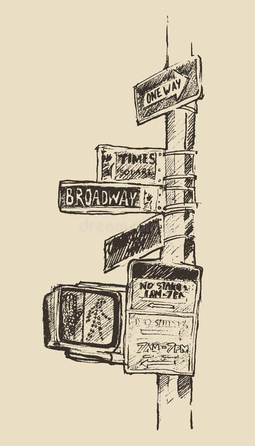 A rua assina dentro o Times Square de New York Broadway ilustração do vetor
