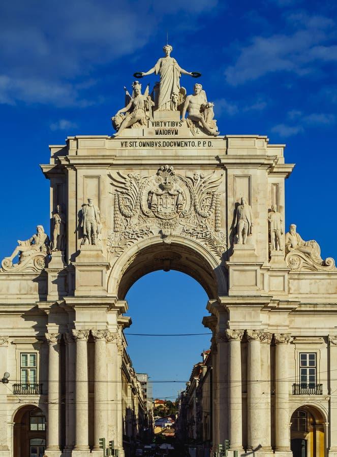 Rua Augusta Arch a Lisbona fotografie stock libere da diritti