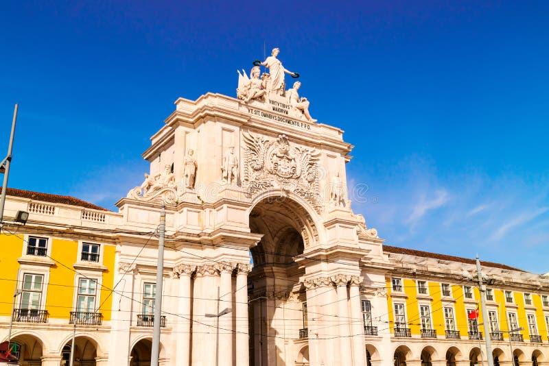 Rua Augusta Arch a Lisbona, Portogallo fotografie stock