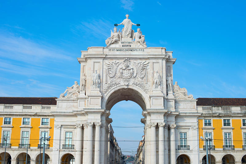 Rua Augusta Arch, Lissabon arkivfoto