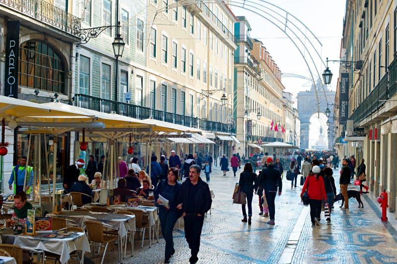 Rua Augusta gata, Lissabon arkivfoton