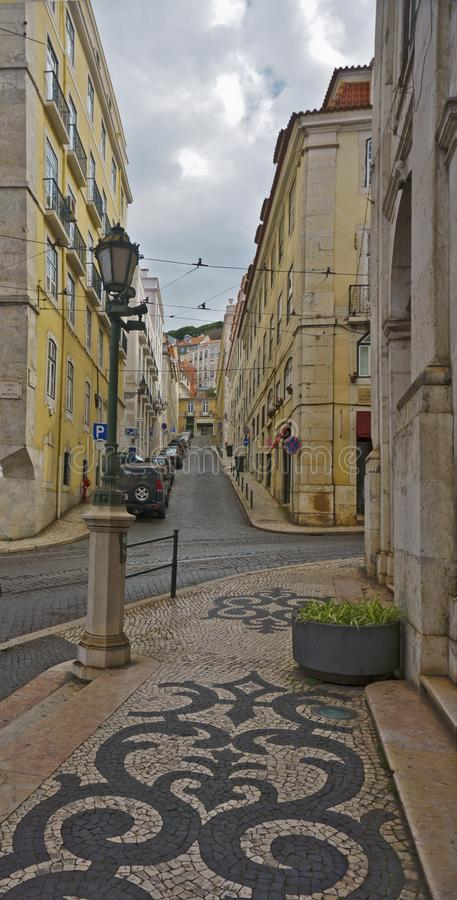 Baixa district, Lisbon , Portugal. Rua Augusta in the Pombaline Baixa Lower Town. Rebuilding plan after the 1755 earthquake by Eugénio dos Santos and Carlos royalty free stock images