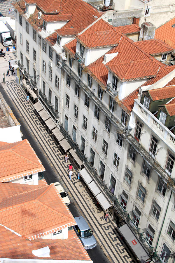 Rua Aurea from the Santa Justa Lift, Lisbon. View of the Rua Aurea from the Santa Justa Lift. The Rua Aurea is one of the streets leading from Rossio Square down stock photo