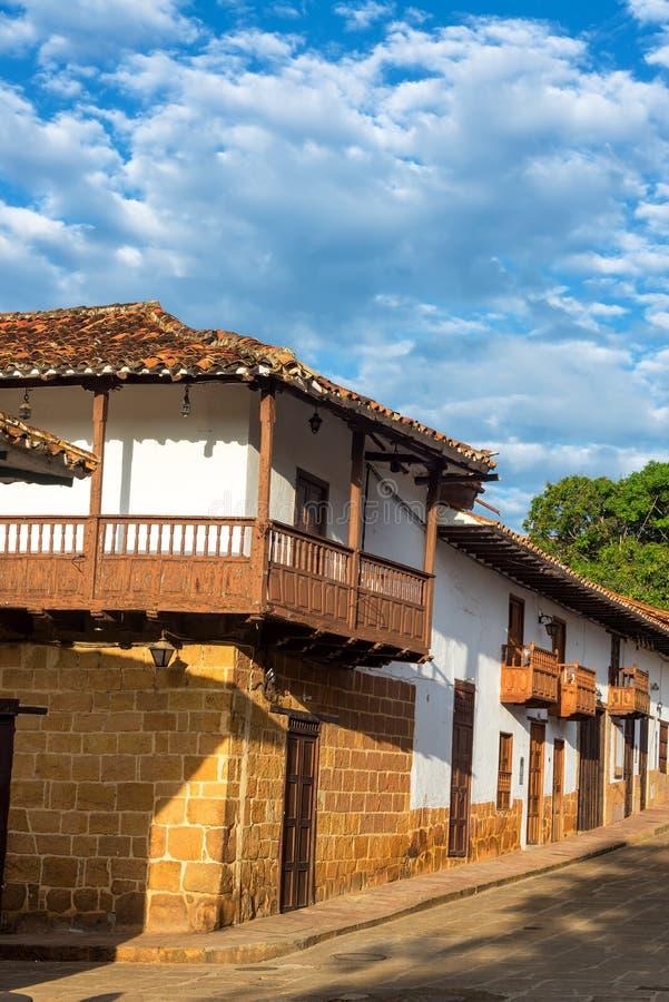 Rua bonita em Barichara, Colômbia foto de stock