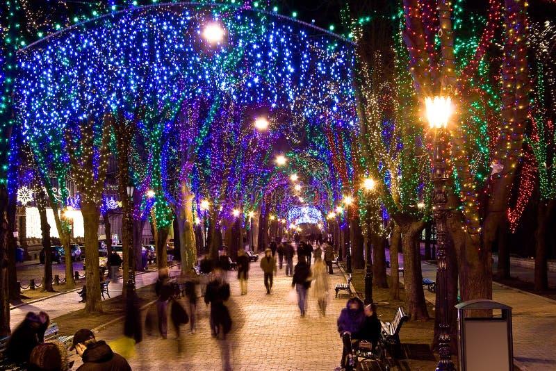 Rua brilhante na noite foto de stock royalty free