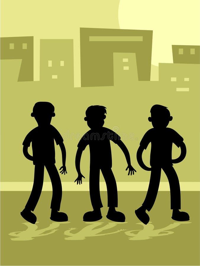 Download A rua caçoa Silouette ilustração do vetor. Ilustração de outdoors - 109554