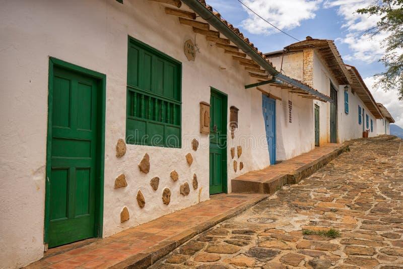 Rua colonial em Barchara Colômbia fotos de stock royalty free