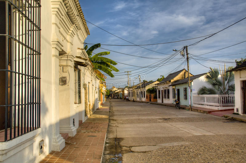 Rua colonial em Mompox fotografia de stock