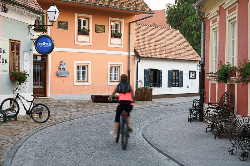 Rua colorida na opinião barroco de Varazdin da cidade, destinati do turista fotografia de stock