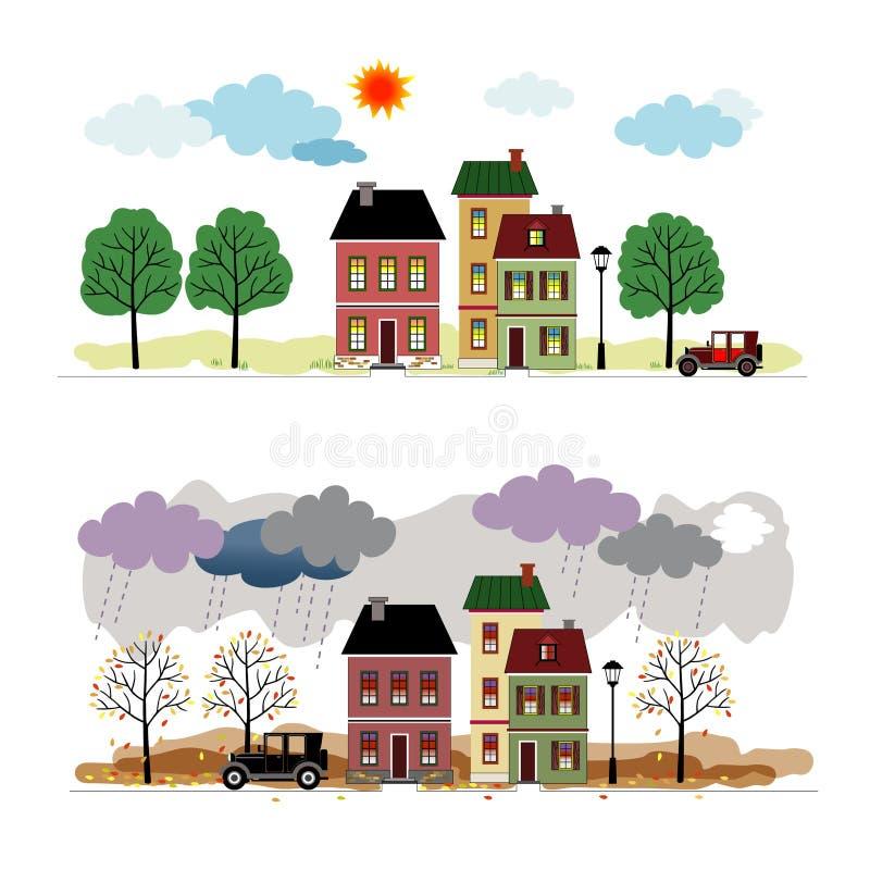 Rua com casas ilustração stock