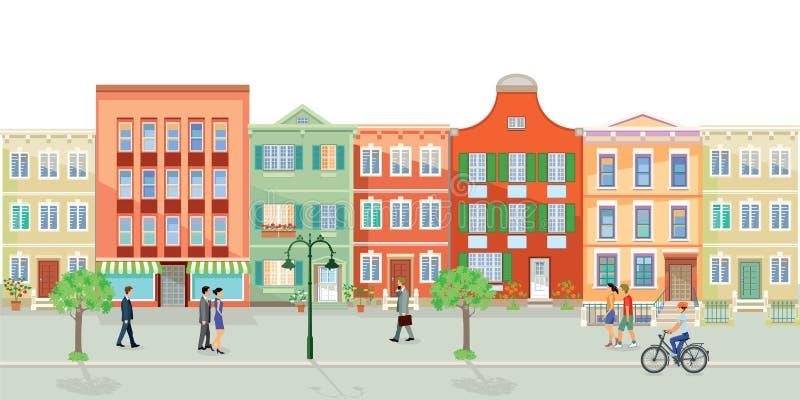 Rua com casas velhas ilustração do vetor