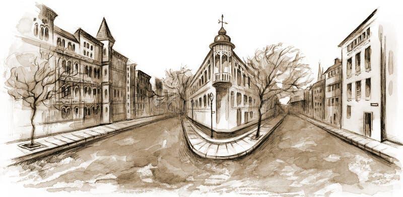 Rua da cidade ilustração royalty free