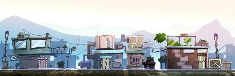 Rua da cidade com casas ilustração stock