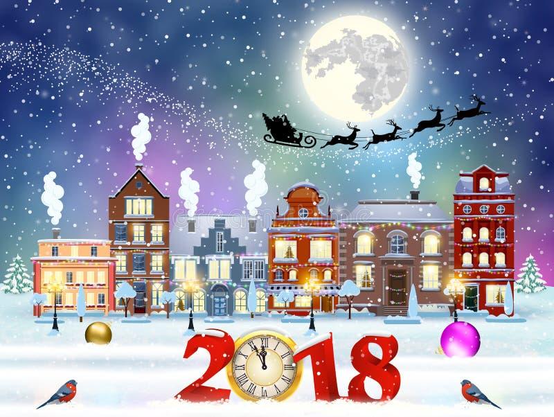 Rua da cidade do inverno do Natal ilustração stock