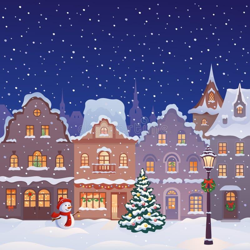 Rua da cidade do Natal ilustração stock