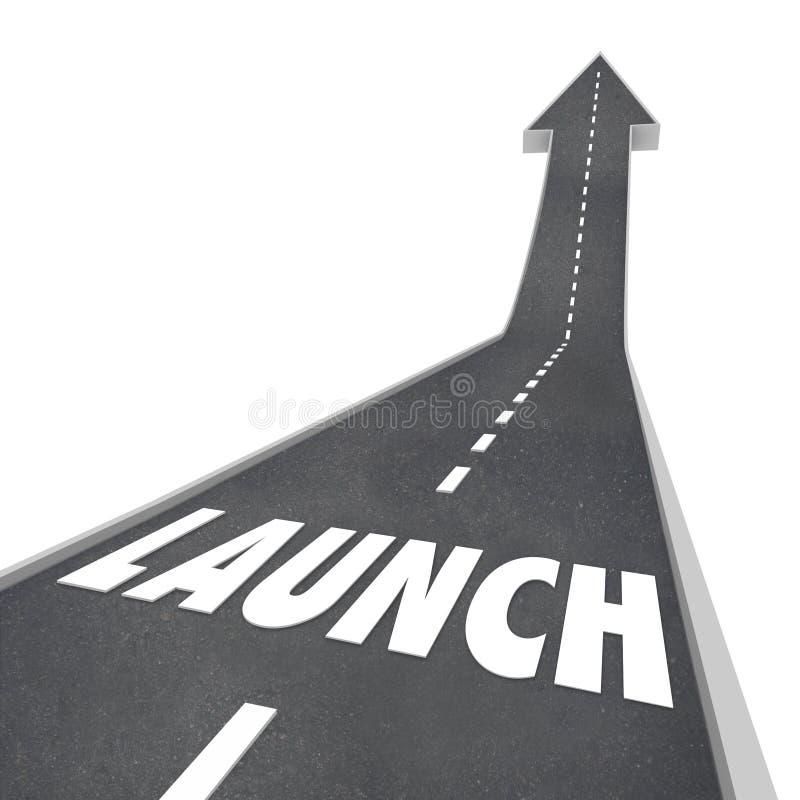 Rua da estrada da palavra do lançamento acima do produto novo Compan do negócio do sentido ilustração do vetor