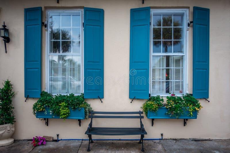 Rua da fileira do arco-íris no cenário e no hist de Charleston South Carolina fotografia de stock