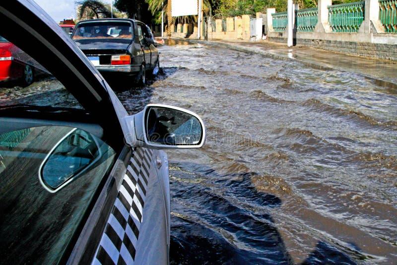 Rua da inundação fotografia de stock royalty free
