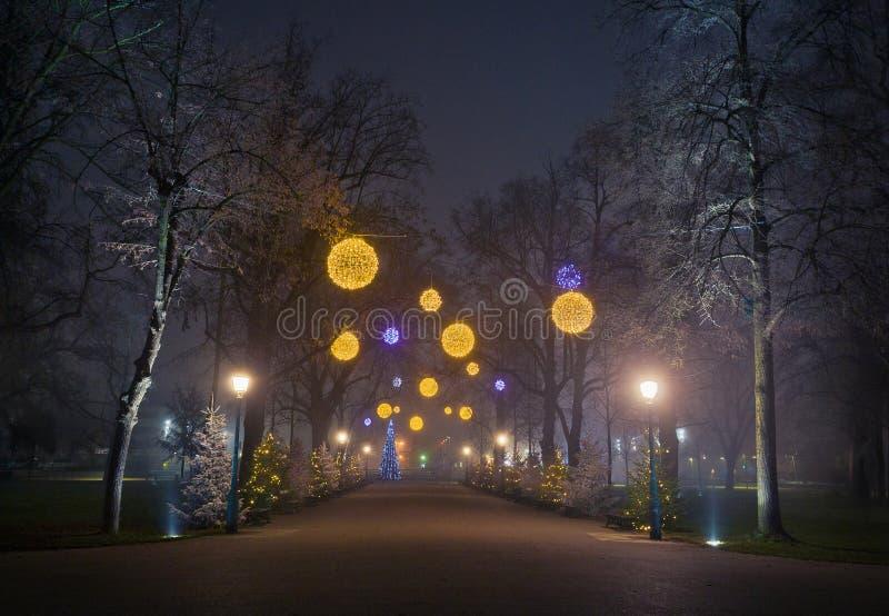 Rua da Noite de Natal foto de stock