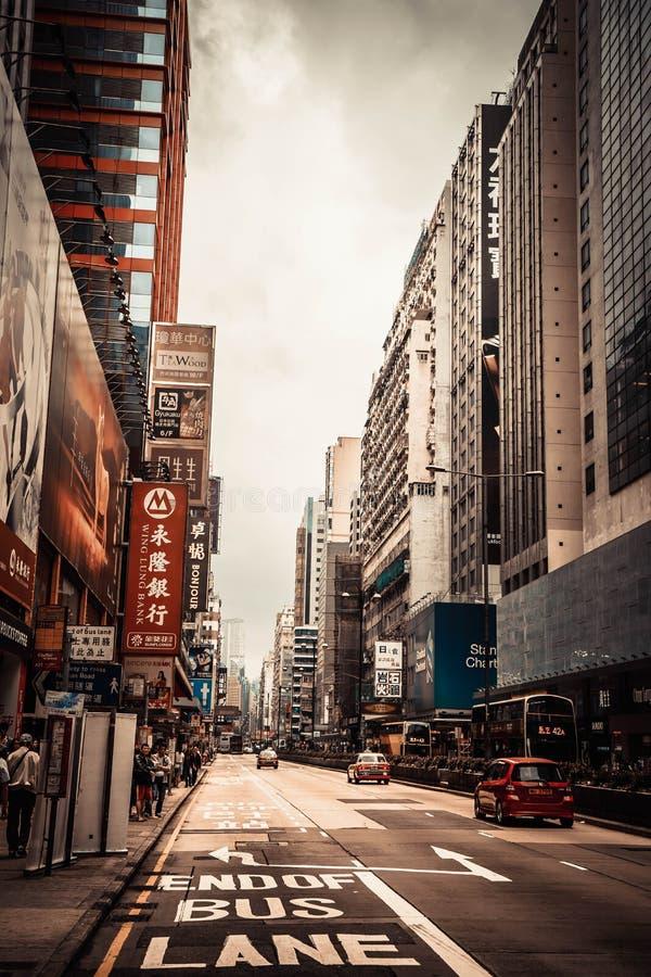 Rua da skyline de Hong Kong fotos de stock