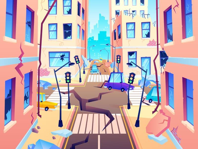 Rua danificada da cidade Dano do terremoto, cataclismo danifica a destruição da estrada e destruiu o vetor urbano dos desenhos an ilustração royalty free