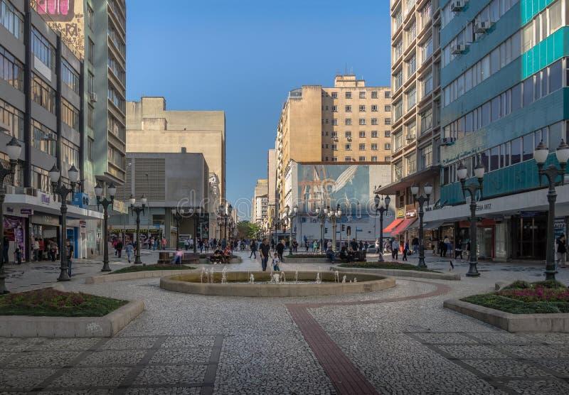 Rua das弗洛勒斯在街市库里奇巴-巴拉那,巴西 免版税图库摄影