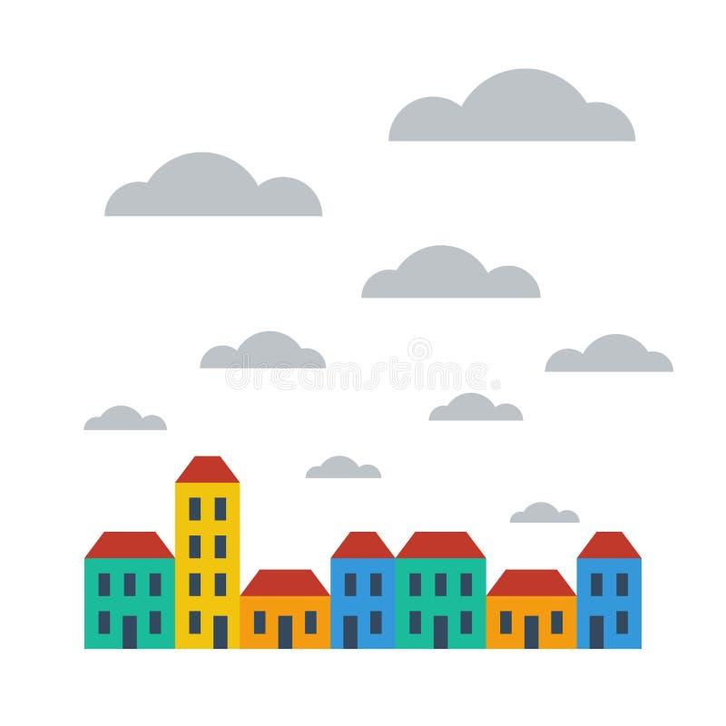 Rua das casas no dia nebuloso ilustração royalty free