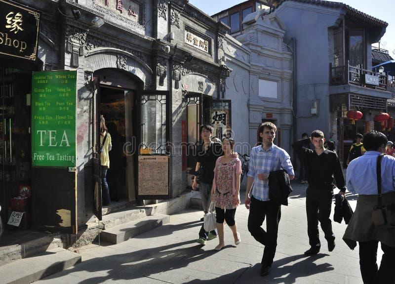 Rua de Beijing Shichahai, curso de Beijing foto de stock