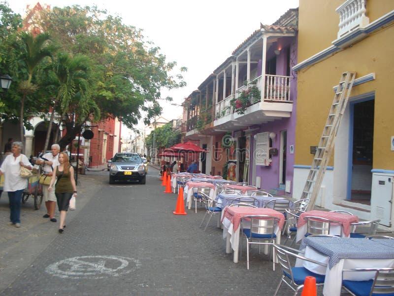 Rua de Cartagena de Índia foto de stock