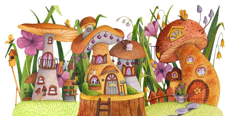 Rua de casas do cogumelo com grama, flores, borboleta, caixa de assentamento, cerca, bandeira e poço ilustração do vetor