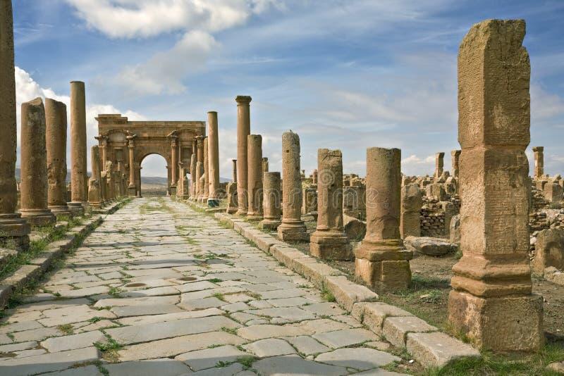 Rua de Decumanus Maximus em Timgad imagem de stock royalty free