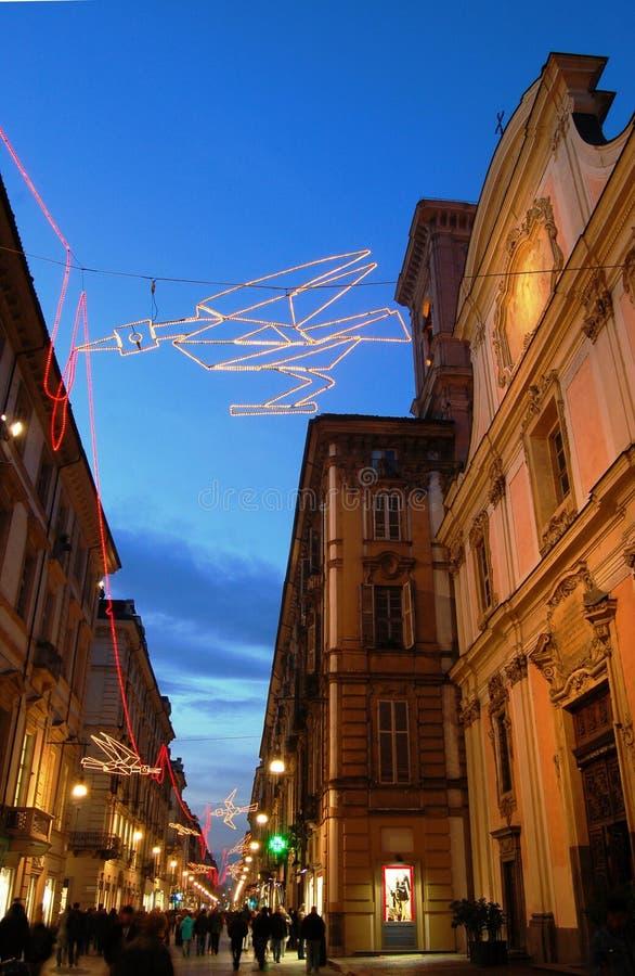 Rua de Garibaldi em Turin fotos de stock