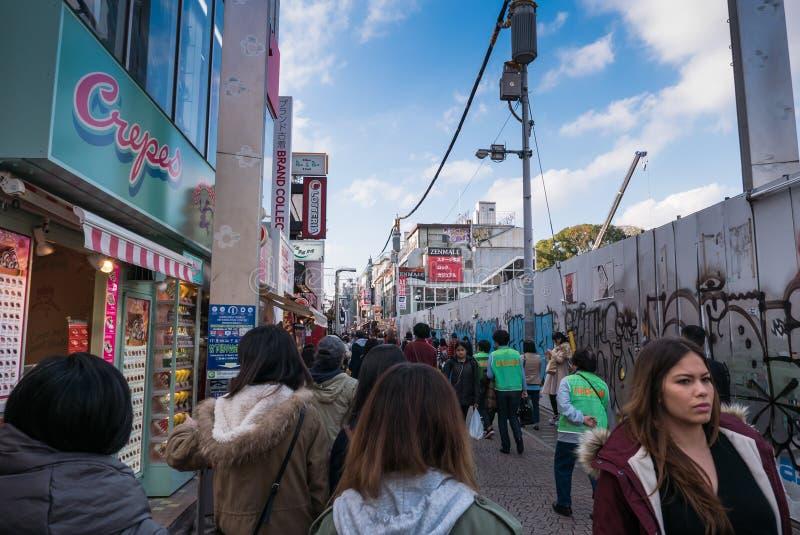 Rua de Harajuku - de Takeshita, Tóquio, Japão foto de stock royalty free