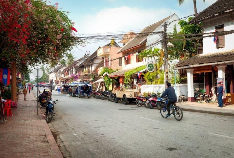 Rua de Luang Prabang, Laos fotografia de stock