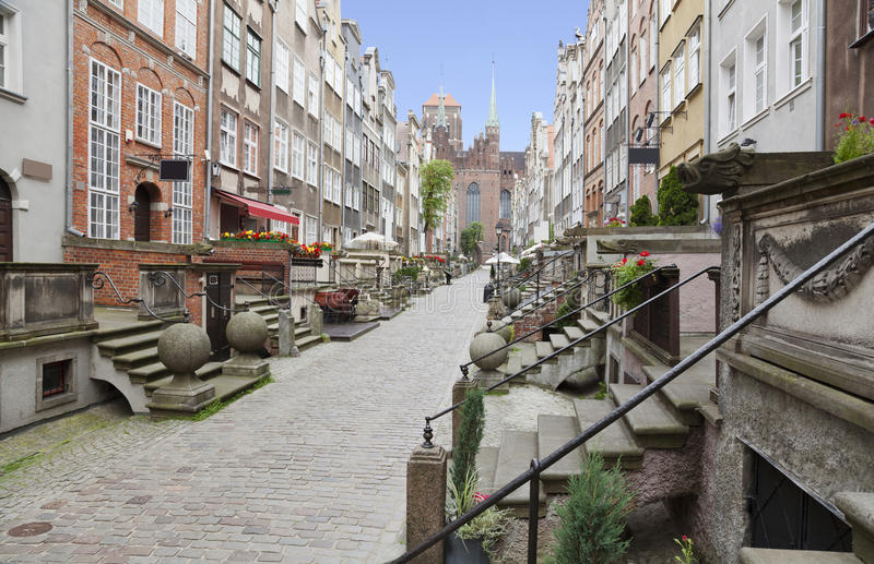 Rua de Mariacka em Gdansk, Polônia imagem de stock