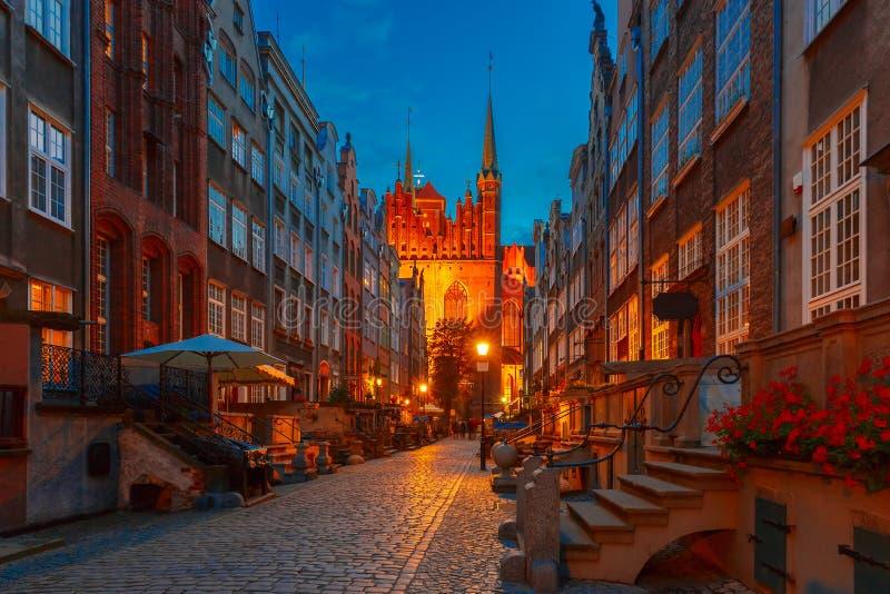 Rua de Mariacka na cidade velha de Gdansk, Polônia imagem de stock royalty free