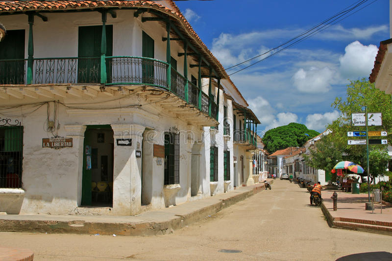 Rua de Mompos, Colômbia fotografia de stock royalty free
