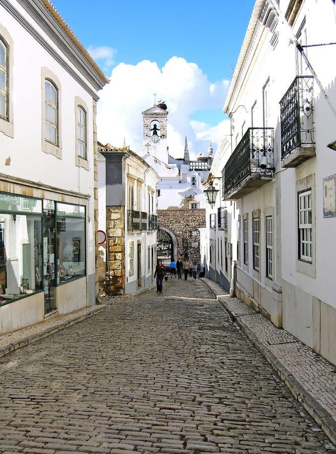Rua de pedra do pavimento foto de stock