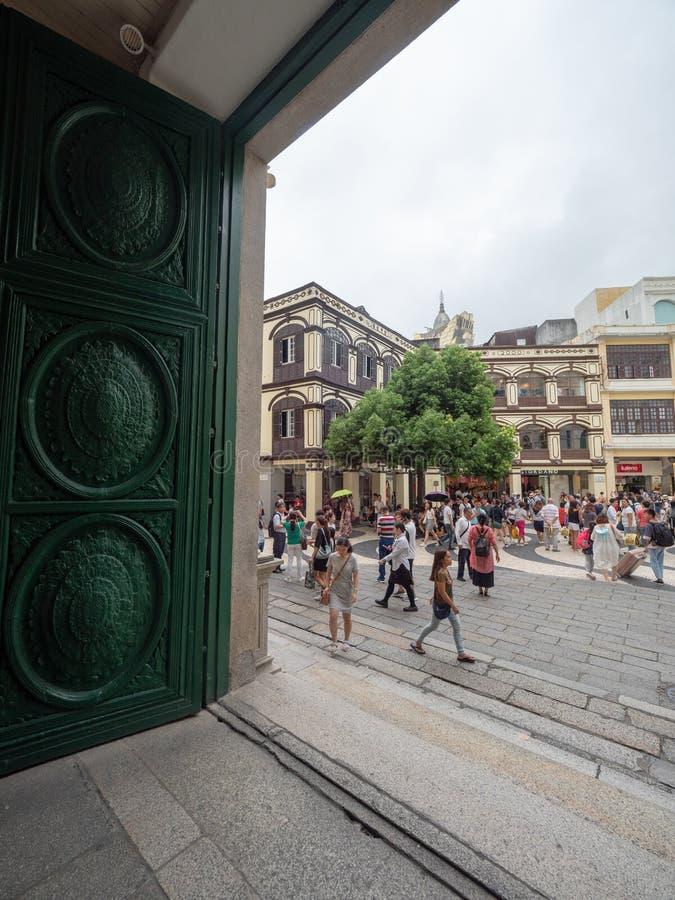 Rua de S. Domingo street, Macau. Macau/China - August 15 2018: Rua de S. Domingo street in the UNESCO Historic Centre of Macau World Heritage Site stock image