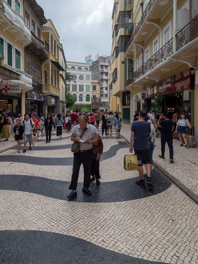 Rua de S. Domingo street, Macau. Macau/China - August 15 2018: Rua de S. Domingo street in the UNESCO Historic Centre of Macau World Heritage Site stock images