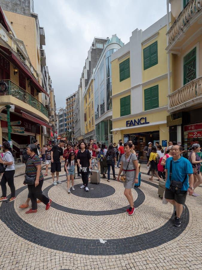 Rua de S. Domingo street, Macau. Macau/China - August 15 2018: Rua de S. Domingo street in the UNESCO Historic Centre of Macau World Heritage Site royalty free stock photography