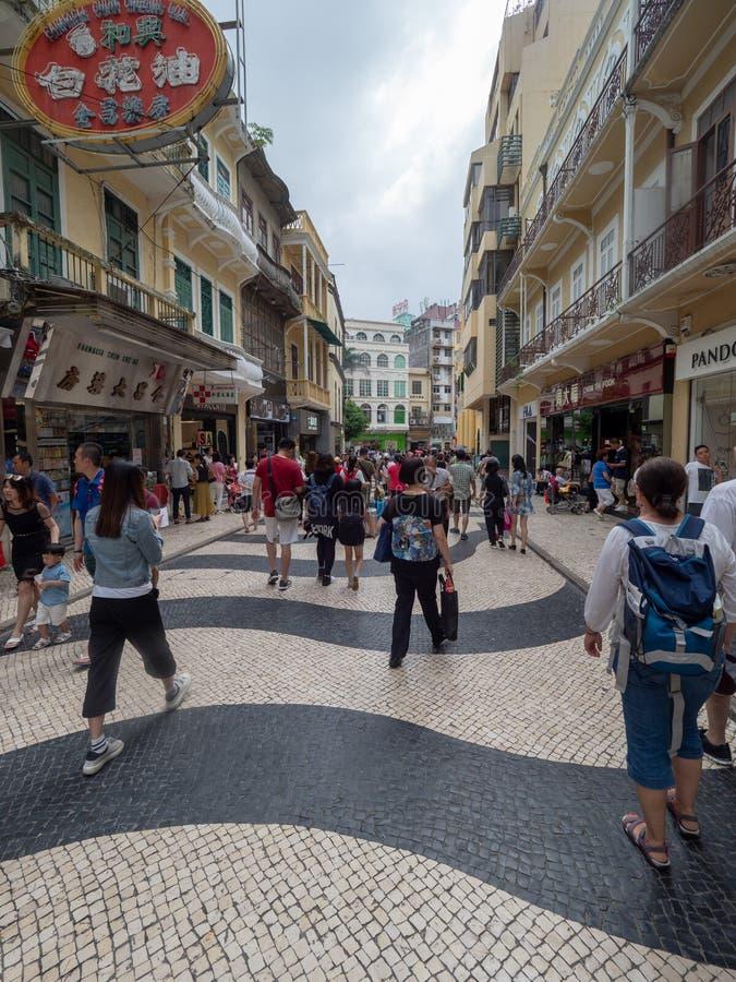 Rua de S. Domingo street, Macau. Macau/China - August 15 2018: Rua de S. Domingo street in the UNESCO Historic Centre of Macau World Heritage Site stock photos