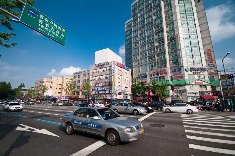 Rua de Seoul, Coreia do Sul imagem de stock royalty free