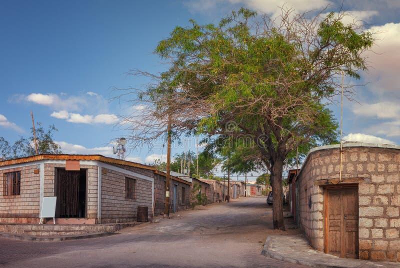 A rua de Toconao, esta cidade pertence à comuna de San Pedro de Atacama, na região de Antofagasta, o Chile fotos de stock royalty free