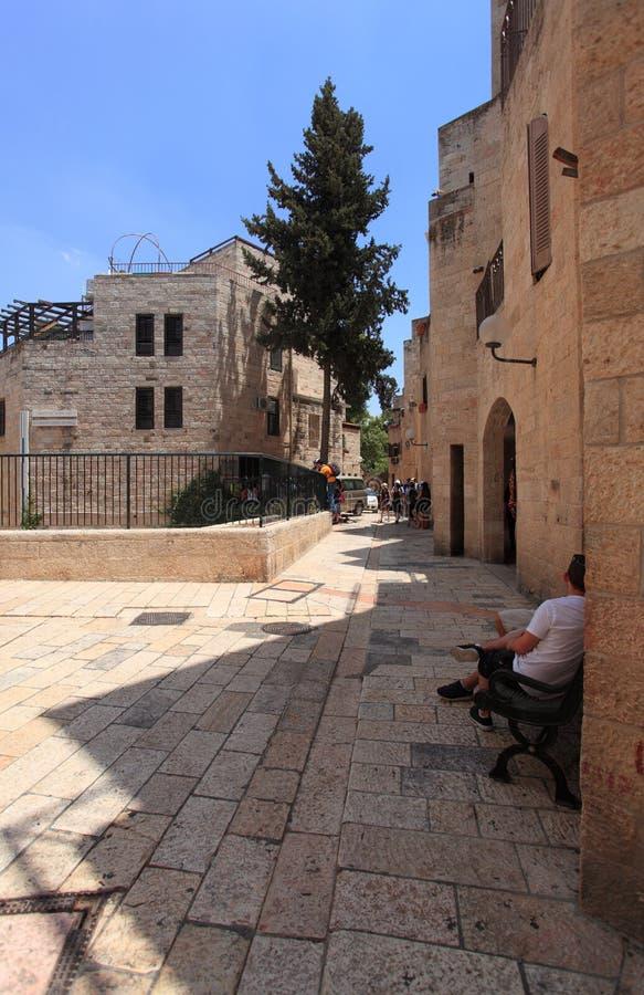 Rua de um quarto judaica, cidade velha do Jerusalém fotos de stock