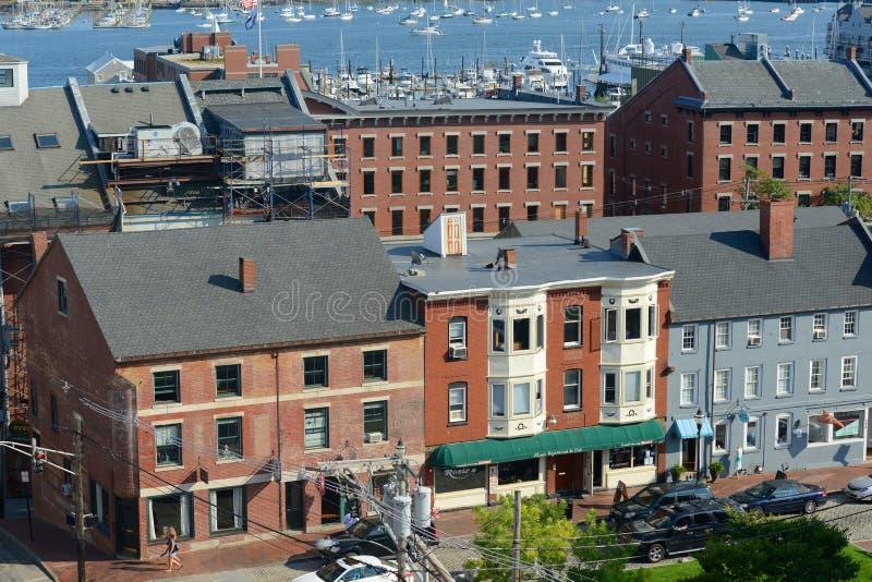 Rua dianteira histórica de Portland e porto velho, Maine, EUA imagem de stock