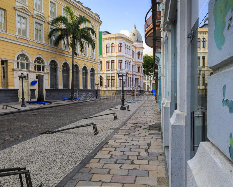 Rua do Bom Jesus. The historic architecture of Recife in Pernambuco, Brazil with its buildings dated from the 17th century and cobblestone streets stock photos