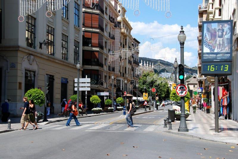 Rua do centro de cidade, Granada fotografia de stock royalty free